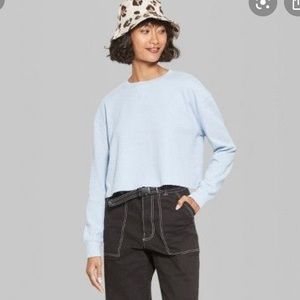 Cropped waffle knit top